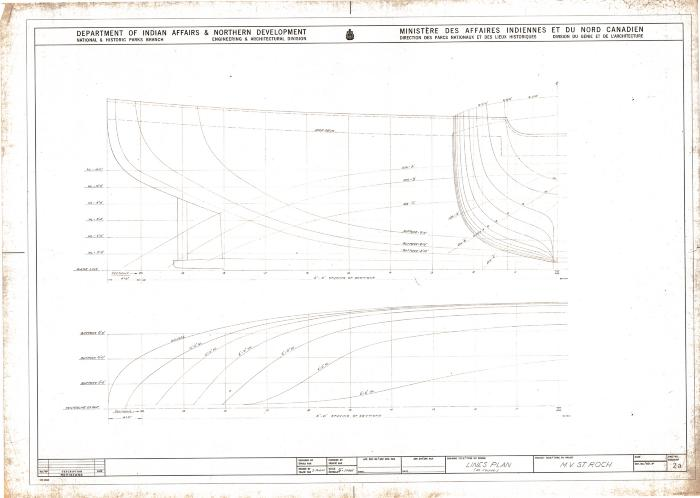 MV <i>St. Roch</i> lines plan (as found), ca. 1969. Item number: 2007.5000.0170a.