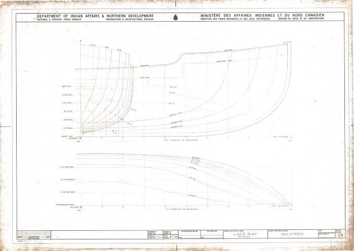 MV <i>St. Roch</i> lines plan (as found), ca. 1969. Item number: 2007.5000.0170b.